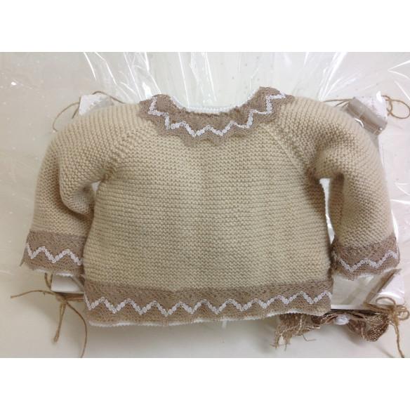 Conjunto lana beig, puntilla de bolillos