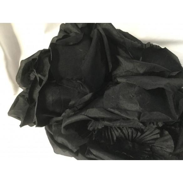 Tocado vintage negro hojas