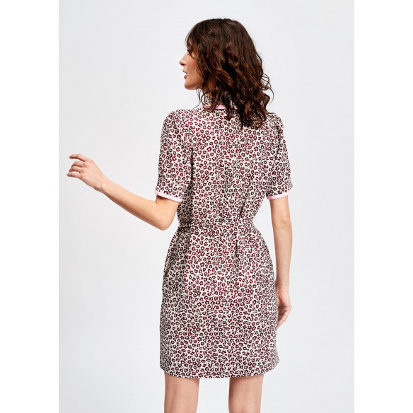 LEOPARD PRINT SHIRT DRESS WITH PINK TRIM
