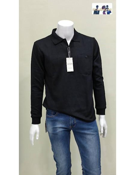 Polo básico negro manga larga con bolsillo para hombre