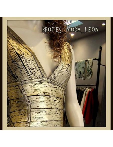 Vestido bandage dorado