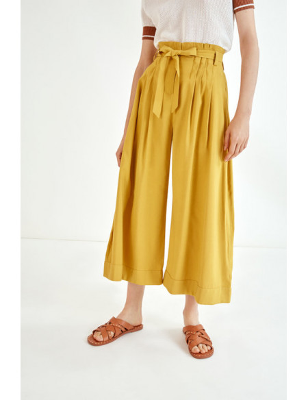 Pantalones Anchos Ocre